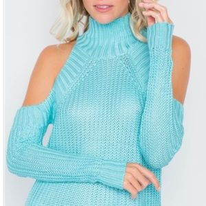 New turtleneck cold shoulder sweater women's